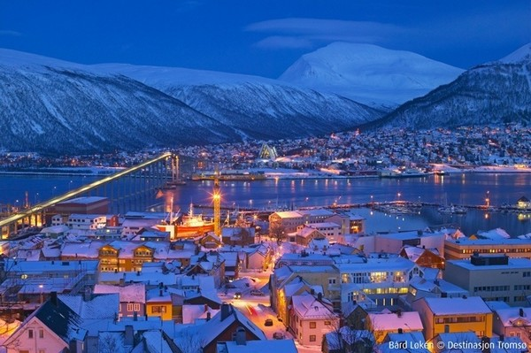 Downtown Tromsø in winter with