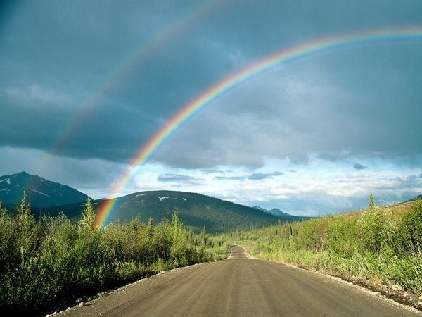 Photo: Rainbow over road